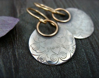 printed moon ... mixed metal earrings