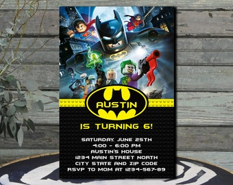 Batman Lego  Batman Lego Invitation Batman Lego Birthday invitation  Batman Lego Party  Lego Batman  Lego Batman Printable  Lego