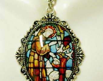 Saint Francis and the wolf stained glass window pendant and chain - AP09-207