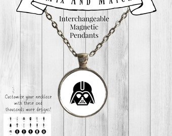 Star Wars Magnetic Pendant / Interchangeable Magnet Necklace / Star Wars Necklace / Geek Gift / Star Wars Jewelry Gift / Darth Vader / Yoda