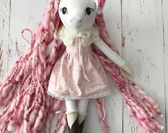 Unicorn doll: handmade heirloom doll in pink