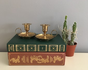 Two Brass Candlestick Holder with Thumb Ring