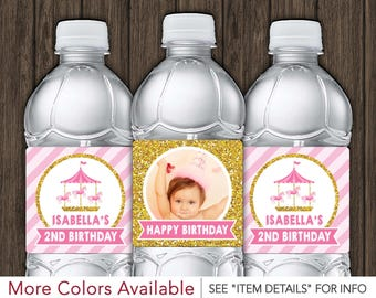 Carousel Birthday Water Bottle Labels - Printable Carousel Birthday Party Decorations - DIY Digital File
