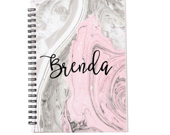 Pink Marble Personalized Spiral Notebook, Journals for Women & Girls, Custom Notebooks, Lined Spiral Notebooks