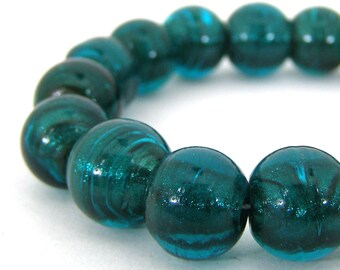 19 Artisan Made Silver Lined Glass Lampwork Beads - Teal Green - Round - 12mm SKU-LWB-11
