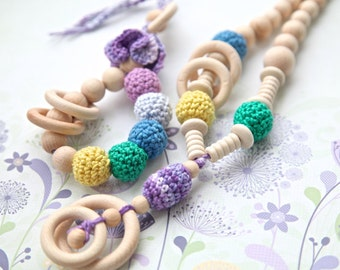 Spring colors set of 2. Teething ring toy and nursing necklace. Light lavender, blue, yellow rattle for baby and mom.