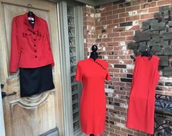 Sophisticated Red&black evening ensemble by Oleg Cassini Black Tie size 6.100% blk polyester sleeveless sheath dress, red satin jacket