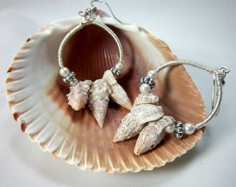 Shell Earrings, Hoop Earrings, Summer Jewelry, Silver Wire Wrapped, Pearls and Shells