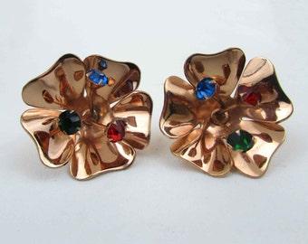 "CORO Sterling Earrings - copper tone wash 1-1/4"" flower with rhinestones - screwback - 1940s"