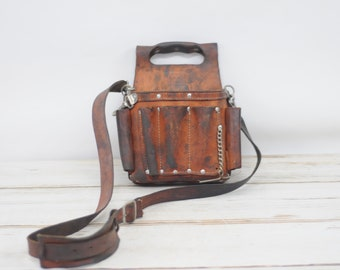 Vintage Leather Ideal Electrician Pouch Tool Belt Pouch  Leather Tool Bag 35-950