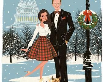 Custom Christmas X-mas Cards Illustration Portrait Custom Portrait illustration Custom Portrait from Photo Custom Illustration Portrait