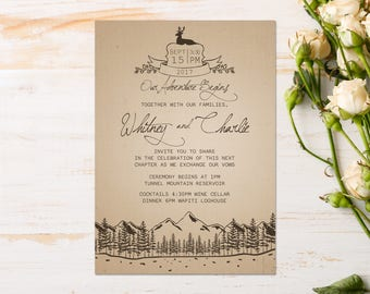 DIY - Adventure Wedding Invitation {Forest or Mountain Theme}