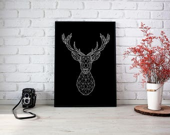 Poster minimalist  black and white deer