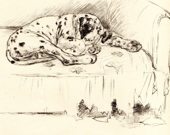 "1942 Vintage DOG PRINT from a book of Sketches by K.F. Barker ""The Egoist"""