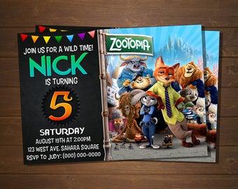 Custom Zootopia Birthday Invitation -5x7 or 4x6
