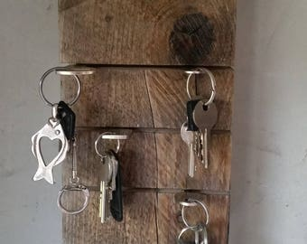 """Keychain aged wood and transfer """"KEYS"""" - wall mount design"""