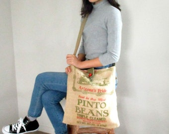Burlap Crossbody Bag from Recycled Pinto Bean Sack  OOAK by The Bent Tree Gallery