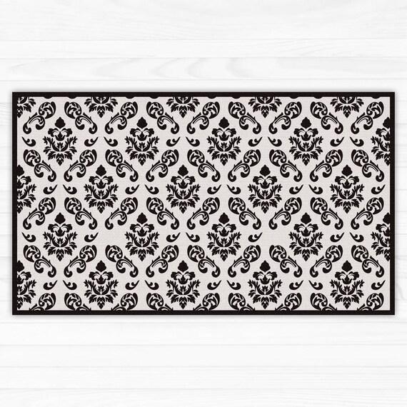 Black Damask Linoleum Printed Rug Vinyl Floor Mat Area Rug