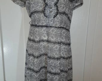 Vintage Gray Floral Dress with Rhinestone Buttons
