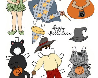Paper Dolls - PDF Printable - Halloween - 6 dolls and outfits