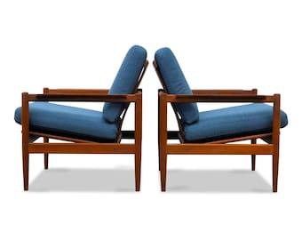 Vintage Børge Jensen & Sønner teak lounge chairs (2)