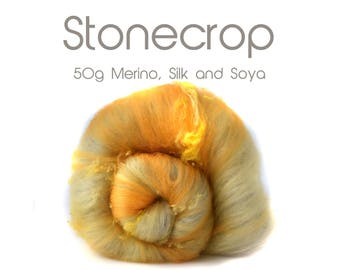 Spinning batt  - 21 micron merino - silk - soya  50g/1.75oz Grey - Yellow - White -  STONECROP