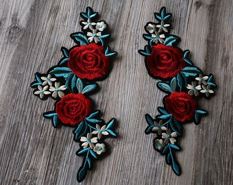 Large Rose iron on patch, flower patch,Embroidered patches, red floral Sew on patch,rose patch flower patch back patch