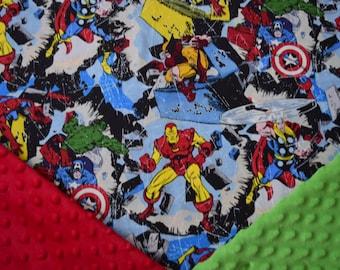 Personalized Superhero Baby Boy Blanket, Marvel Baby Blanket, Spiderman, Captain America, Iron Man, Hulk, Toddler, Newborn, Stroller Blanket