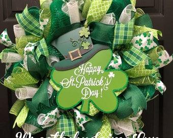St. Patricks day Wreath, St. Patrick's day, green wreath, Irish wreath, Front door wreath, st. Patrick's Day decor,