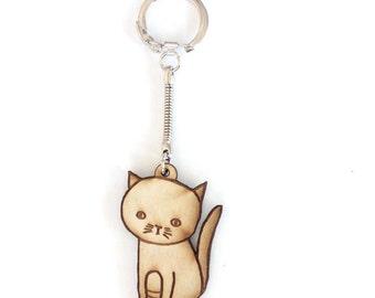 Cute Sitting Cat Keychain Gift