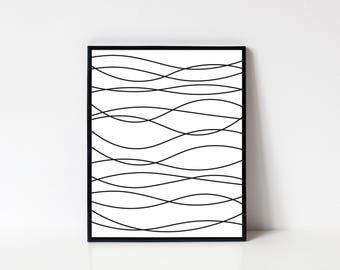 Line Art, Abstract Line Art, Abstract Art, Modern Wall Art, Waves, Abstract Printable, Printable Art, Minimalist Art, INSTANT DOWNLOAD