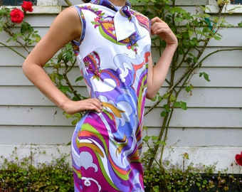 RARE Vintage 60s Signed Op Art Mod Dress Designer Saul Villa Italy Geometric Novelty Print Psychedelic Swirls Wearable Art Small Medium
