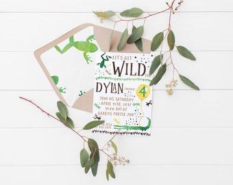 Printable Let's Get Wild Kids Birthday Invitation- Alligators & Frogs