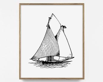 sail boat print, ship print, sailing illustration, sail sketch, wanderlust art, sailing print, sailing art, nautical print, nautical art
