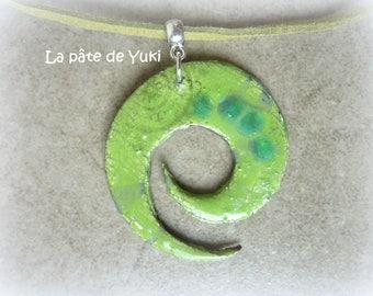 Round spiral pendant green blue Crackle handmade polymer clay