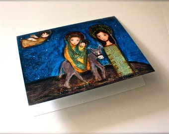 The Flight into Egypt - Greeting Card 5 x 7 inches - Folk Art By FLOR LARIOS