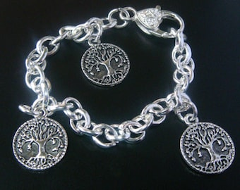 Tree of Life Bracelet with 3 Antique Celtic Silver Tree of Life Pendants 017