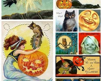 HALLOW'S EVE - Digital Printable Collage Sheet - Vintage Halloween Pumpkins, Jack-o-Lanterns, Witches, Owls, Black Cats, Digital Download