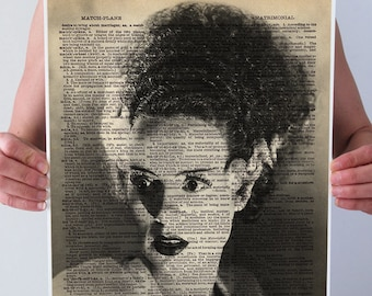 Bride Of FRANKENSTEIN Halloween Art Print Poster Wall Decor Black White Gothic Monster Vintage 1930s Dictionary Book Page
