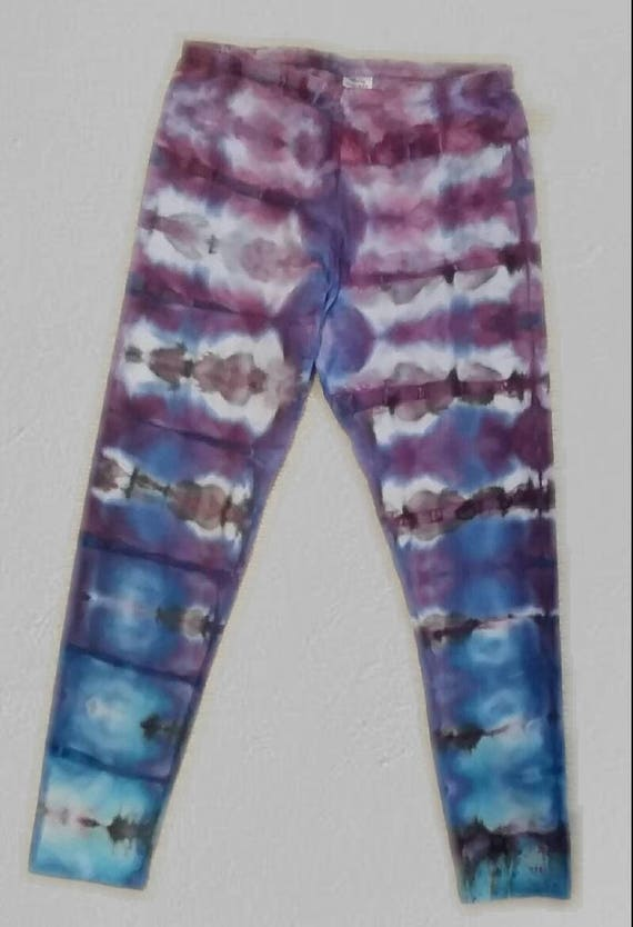 Tie Dye Leggings/Hand Dyed/Womens Ice Dye/Lavender, Periwinkle & Black/Eco-Friendly Dying