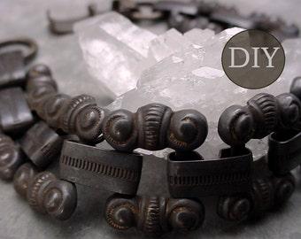 DIY KIT Vintage Brass Bracelet Choker Necklace Collar Large Old Chain Clasp Oxidized Aged Dark Patina Brown Black Brass Jewelry Finding 10B