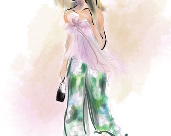 Street Style no. 10  Art Print Fashion Illustration, Fashion Sketch, Fashion Art, Watercolour Illustration