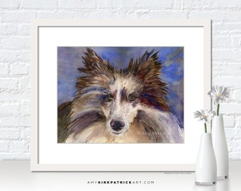 SHELTIE Painting, Sheltie Dog Print, Dog Greeting Cards, Dog Original Watercolor Painting, Dog Wall Decor, Dog Wall Art, Blue Merle Sheltie
