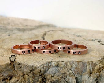11 1/2 plus, USA, Copper Ring, Arthritis Ring, Copper Jewelry, Adjustable Ring, Mens copper Ring, Womens copper Ring, Rustic copper Ring