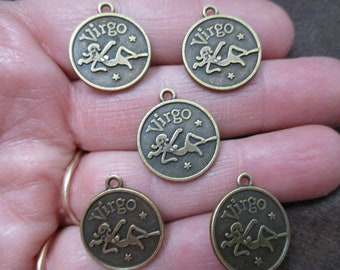Set of 5 Round Shaped Virgo Charms