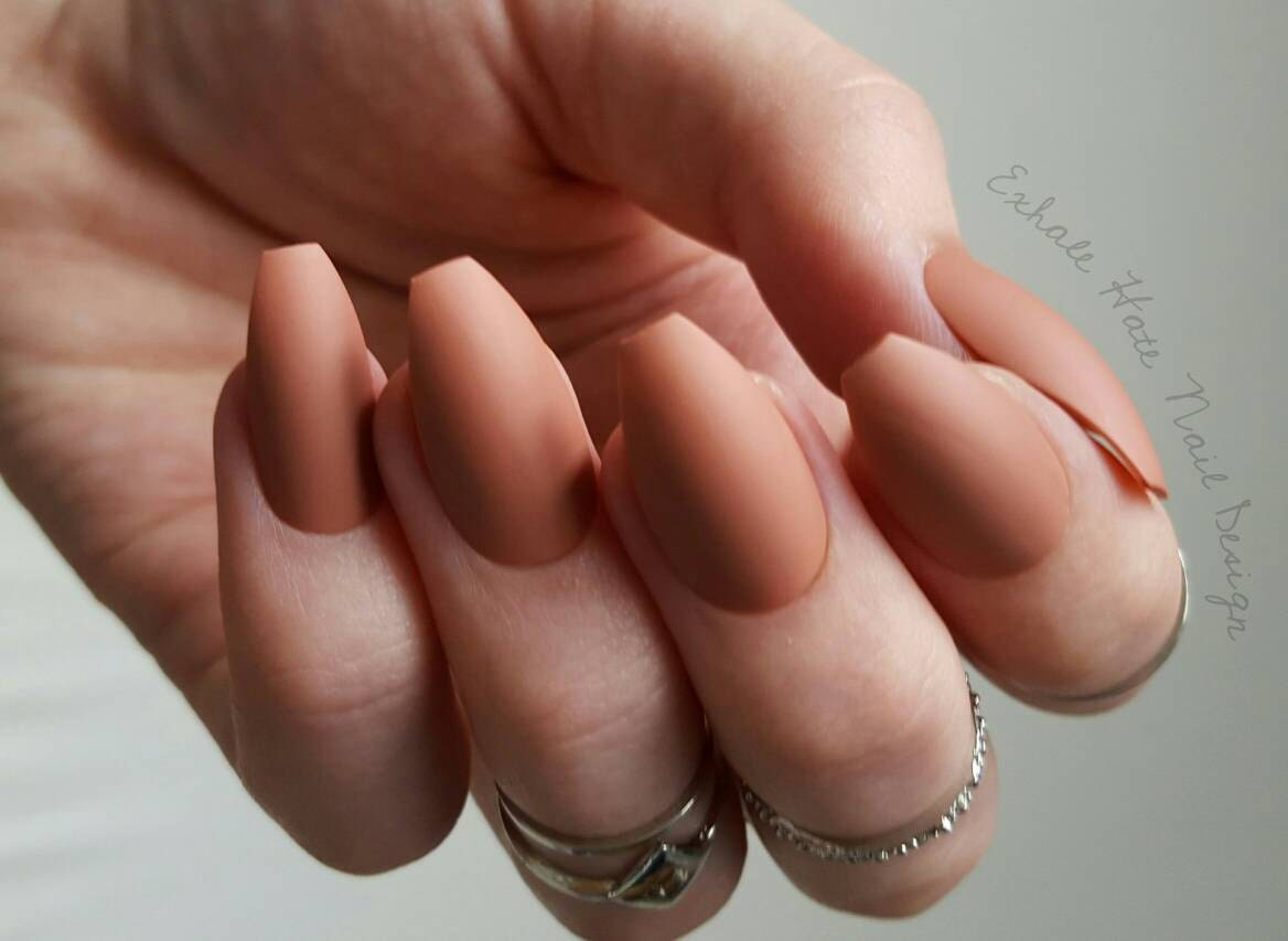 Pinky Brown Clay Nude Trendy Matte/Glossy Fake Press On Nails ...