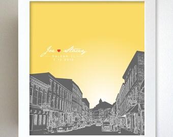 Custom Keepsake / Galena Illinois Skyline Anniversary Gift  / Custom Gift / Any Cityscape Available