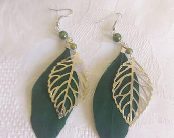 Earrings feather and leaf green - D40