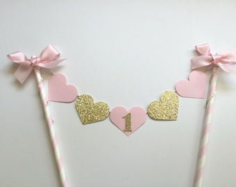 Cake Topper - First Birthday, pretty pink & glitter Gold