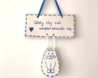 Blue Cat Wall Hanging - Wall Decor - Ceramic Cat - Pottery Cat